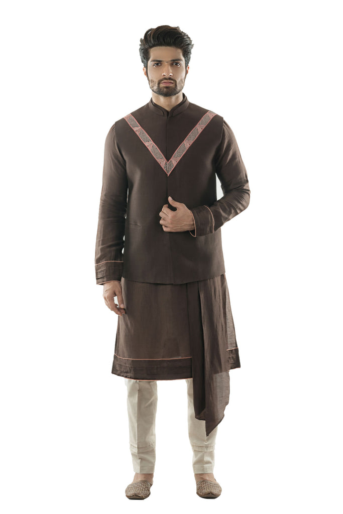 Soil Brown Bandi  Paired with a Soil Brown Kurta with Dupatta Drape and Cream Pant Style Pajamas.