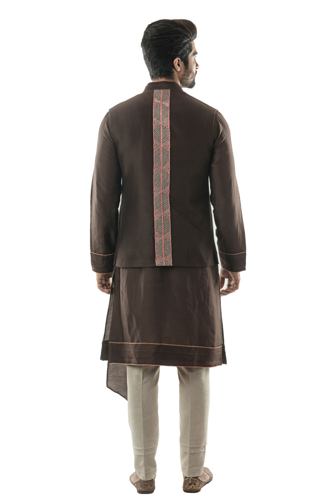 Soil Brown Bandi in Linen Satin with Linear Embroidery in Pastel coloured Silk Threads