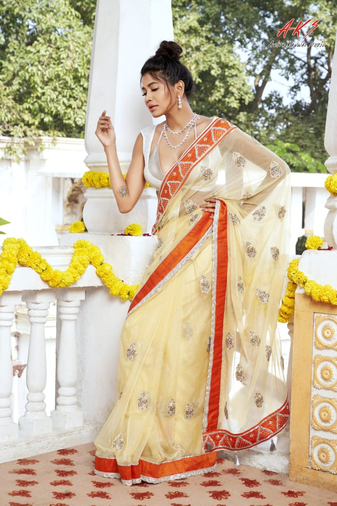 Pale Yellow Organza Saree