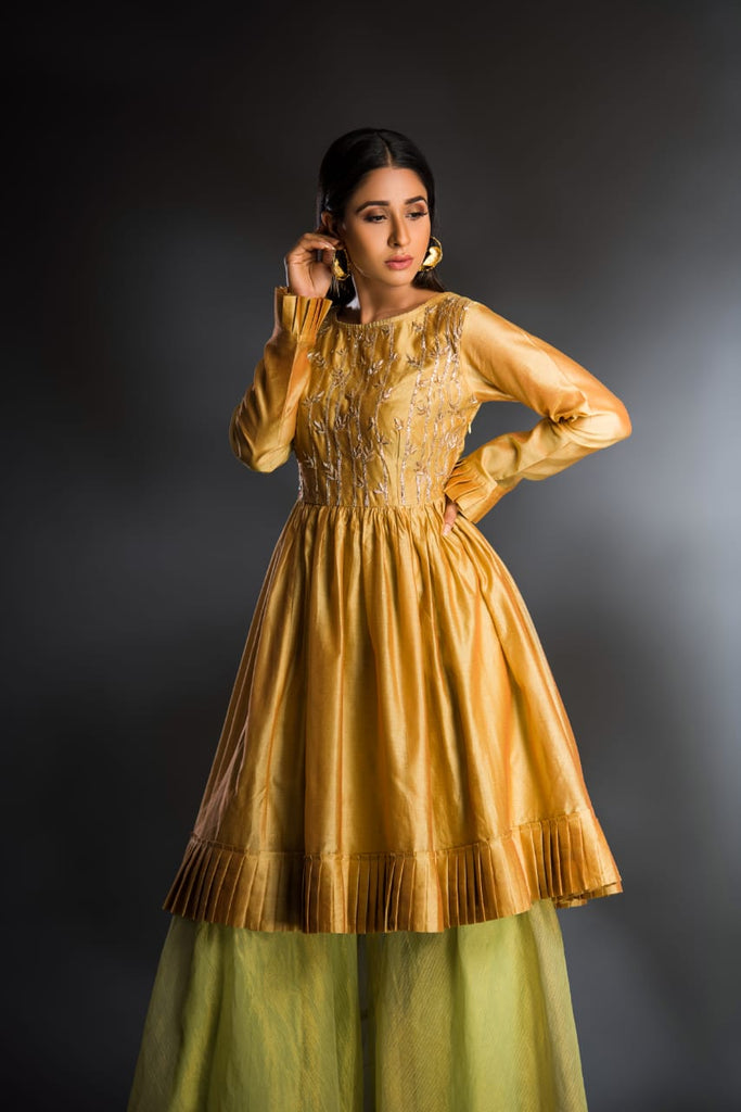 Mustard tunic with sharara set