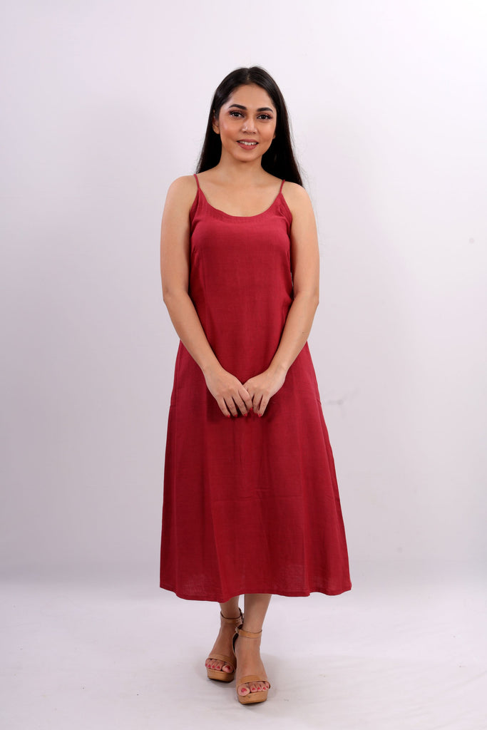 WOMEN RED COTTON A-LINE SLIP DRESS