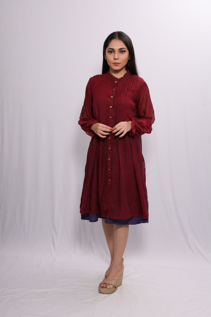 WOMEN RED MULMUL COTTON RUFFLE DRESS WITH BLUE COTTON INNER