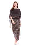 printed drape skirt with oversized top