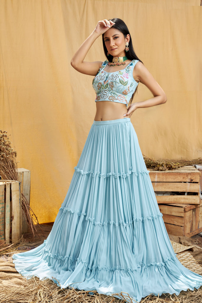 Hand embroidered lehenga set with 3D leaves