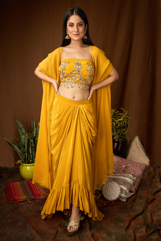 Hand embroidered blouse with draped dhoti and cape