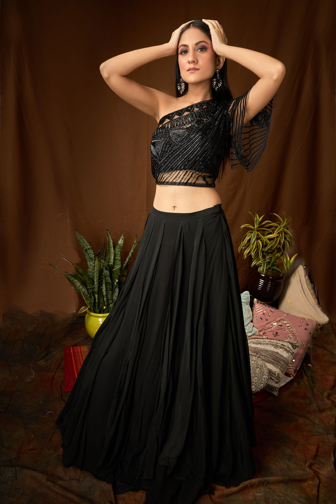 Hand embroidered one shoulder blouse with double kali skirt