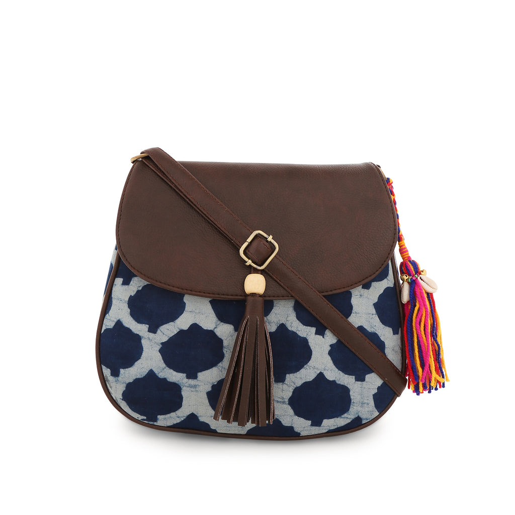 Zip Sling Bag in blue