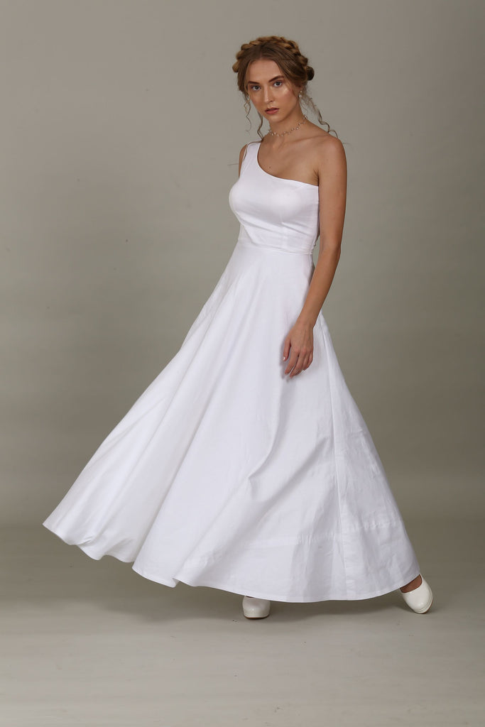 one shoulder Cotton satin gown