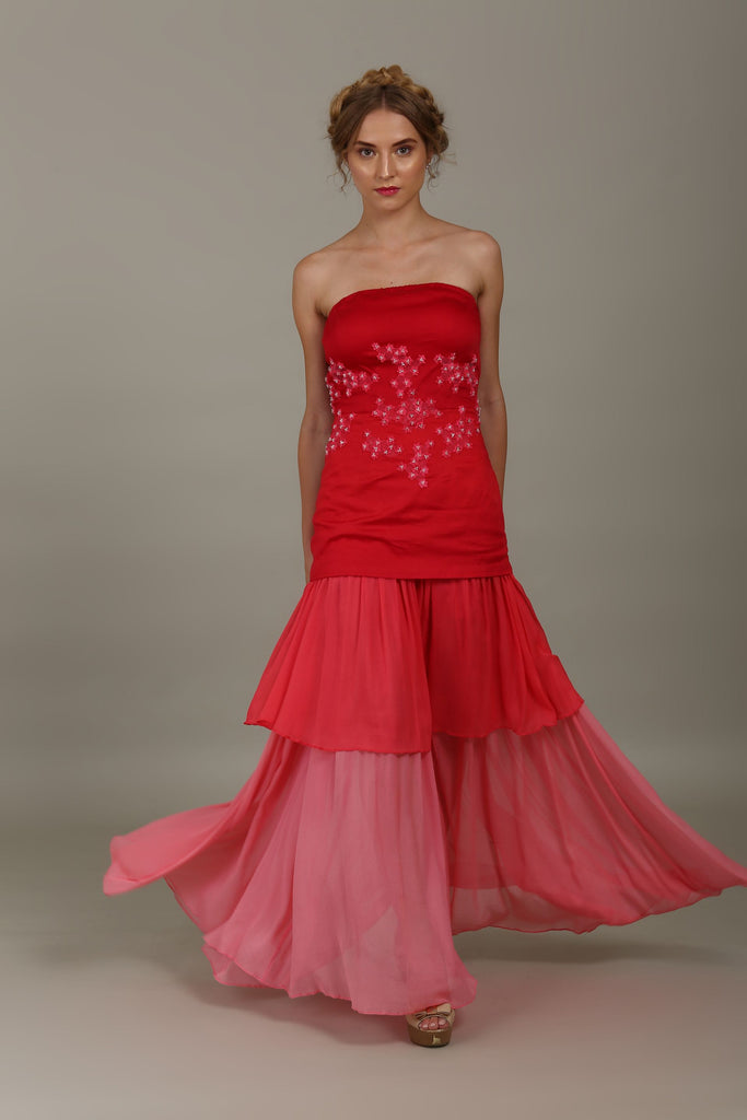 Crimson Red Crystal Flower Gown