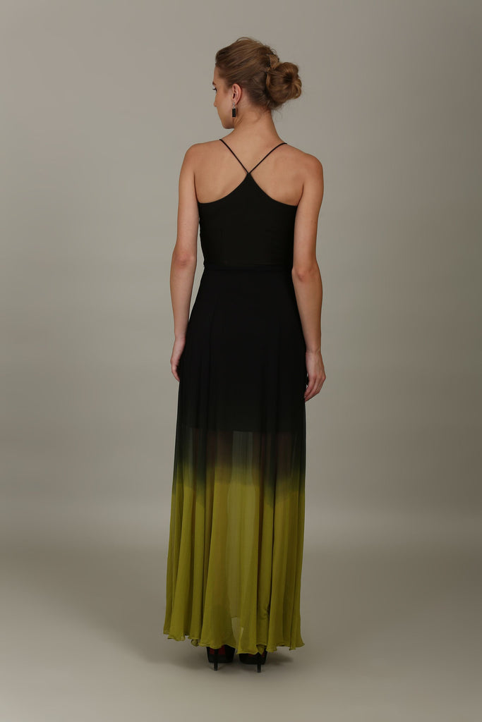 Black and fresh leaf ombre Gown with rushed bodice