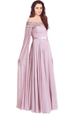 Readymade Lavender Purple Georgette Indo Western Gown