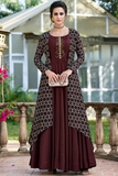 Dark brown gown with jacket
