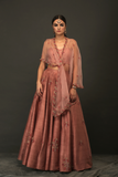 PINK RAW SILK LEHENGA WITH NET GATHERED BLOUSE