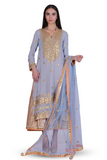 powder blue embroidered kurta with navy blue sharara pant set