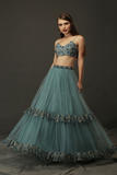TEAL BLUE NET FRILL LEHENGA WITH EMBELLISHED BLOUSE