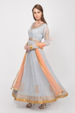 powder blue and peach embroidered anarkali gown