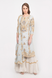 powder blue embroidered kurta with tiered sharara pants set