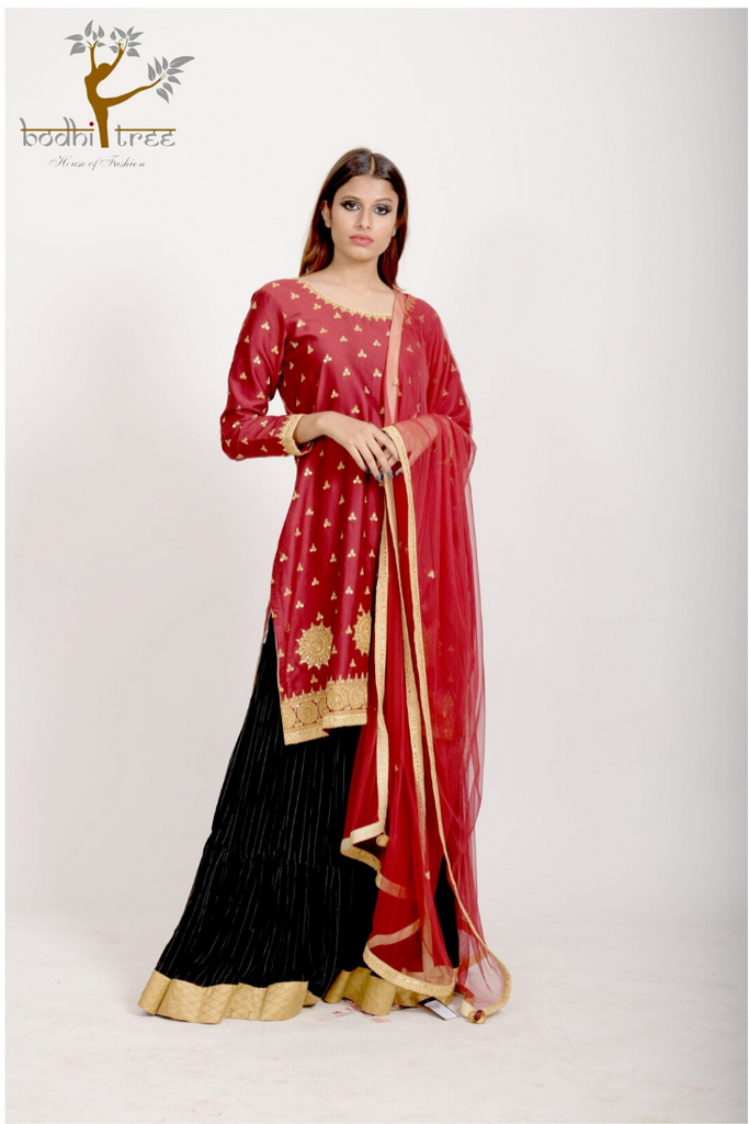 TUNIC WITH HIGH WAIST LEHENGA& DUPATTA