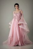 OLD ROSE FEATHER EMBROIDERY GOWN WITH RUFFLED SLEEVES