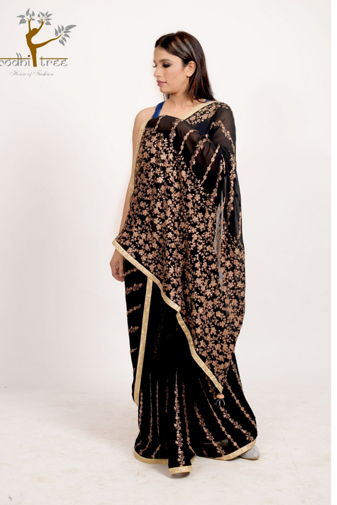 SAREE WITH CONTRASTING TOP