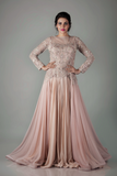 NUDE BLUSH GGT GOWN WITH ATTACHED  SOFT TULLE OVER SKIRT