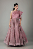 ONE SHOULDER OLD ROSE DRAPED BODICE KALIDAR WITH RUFFLE SLEEVES
