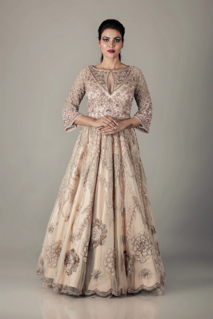 GOLD  EMBROIDERED FALLIMG FERN PEARL GOWN