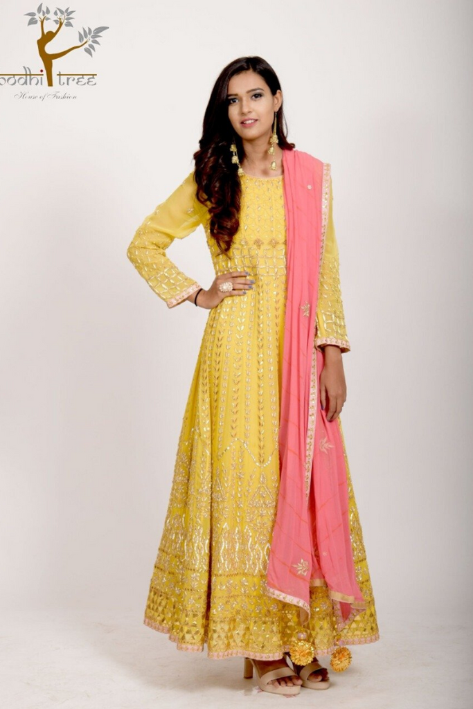 ANARKALI SUIT WITH EMBROIDED DUPATTA