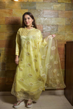 Lemon Yellow linen-satin blend kurta set