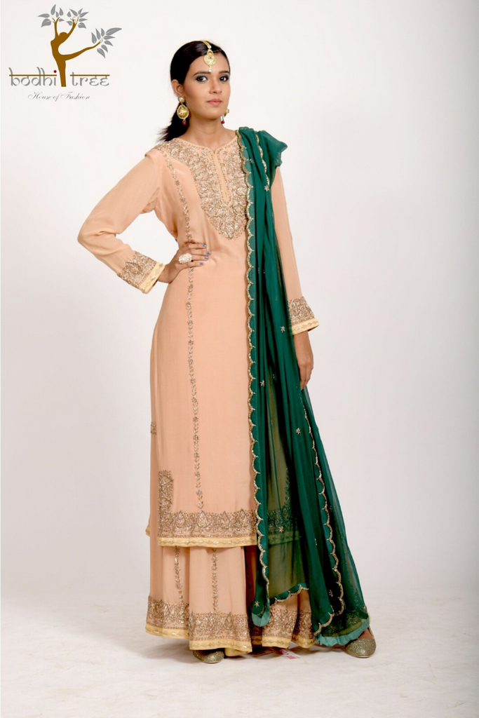 KURTA WITH SHARARA PANTS & DUPATTA