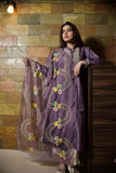 Purple Hand embroidered Jute silk kurta