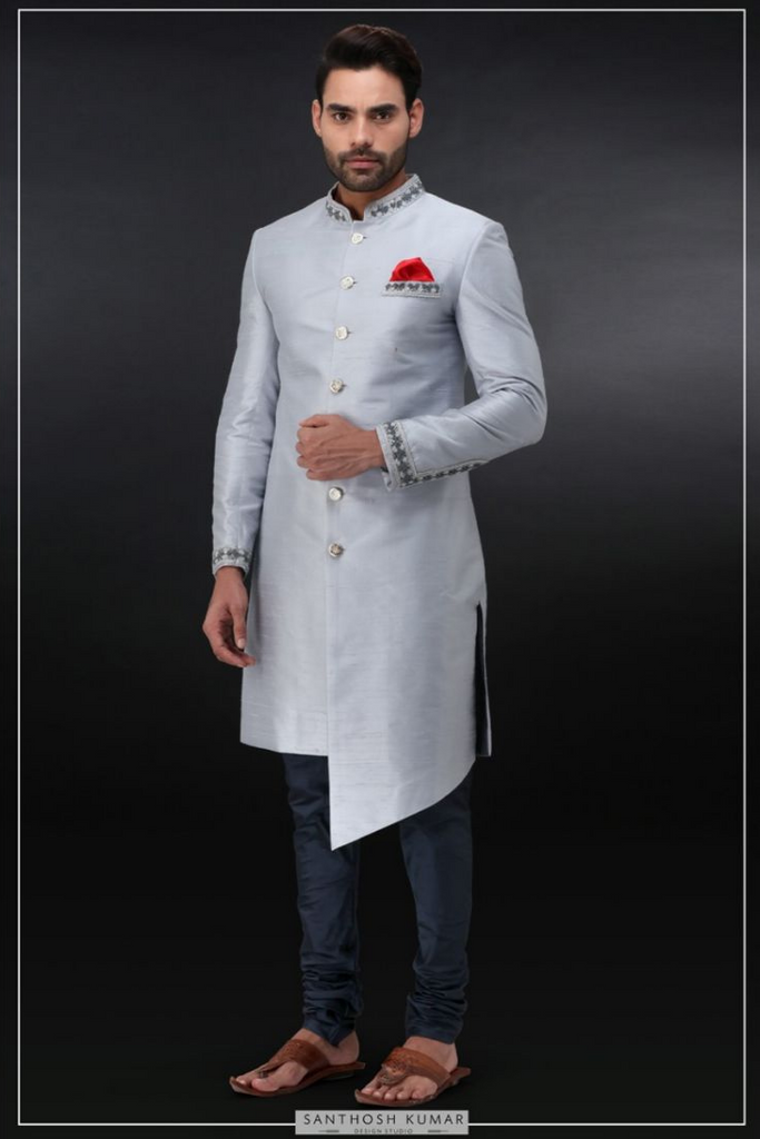 ICE BLUE SHERWANI SET