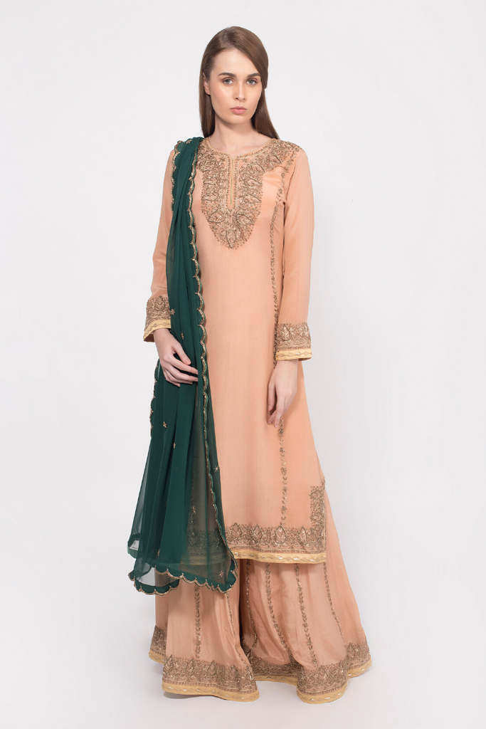 Barley beige embroidered kurta with sharara pants set