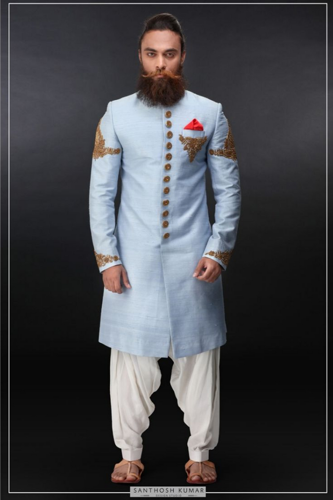 ICE BLUE SHERWANI SET WITH EMBROIDERY