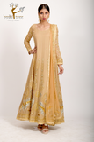 barley beige embroidered anarkali gown