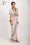 lavender embroidered  ruffled saree set