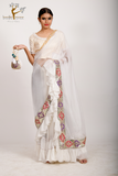 white embroidered pre drapped ruffled saree set