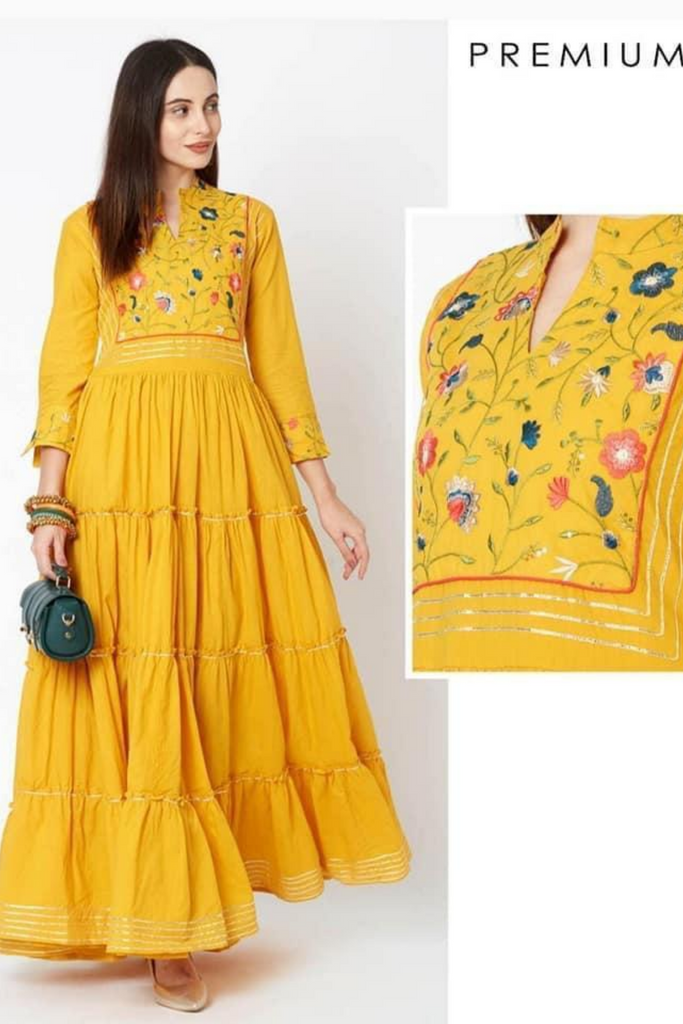 Mustard Embroidered Anarkali