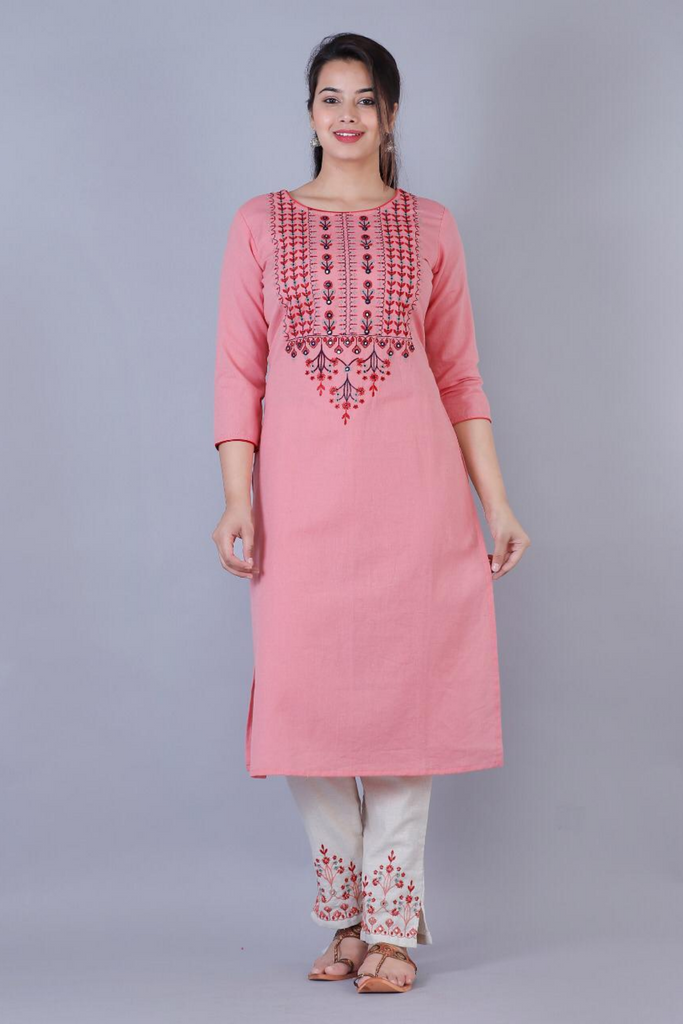 Pink Kurti Set With Threadwork