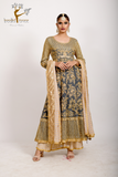 grey embroidered anarkali with beige sharara pants