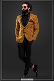 MUSTARD BLAZER WITH CONTRASTING PANTS