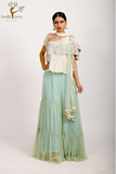 TOP & SKIRT WITH TULLE DUPATTA