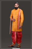 MUSTARD SHERWANI SET WITH RED DHOTI