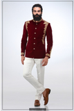 MAROON EMBROIDED BANDHGALA WITH CONTRASTING PANTS