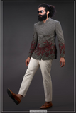 GREY BANDHGALA SUIT WITH CONTRASTING PANTS