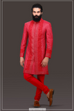 RED HAND EMBROIDED KURTA SET