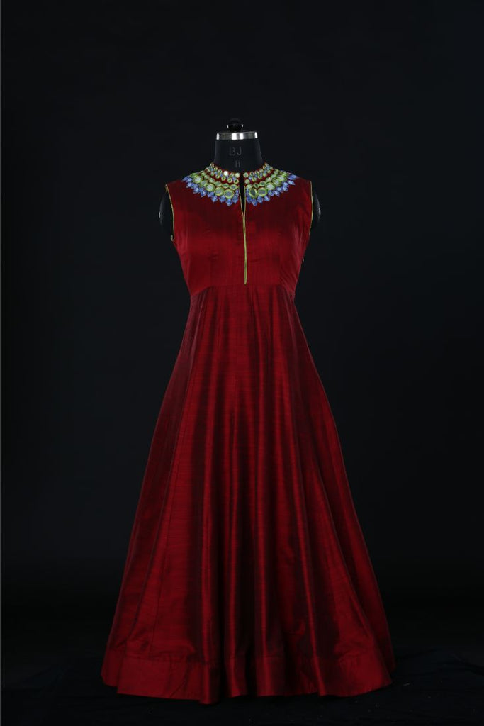 Red Velvet  Embroidered  dress