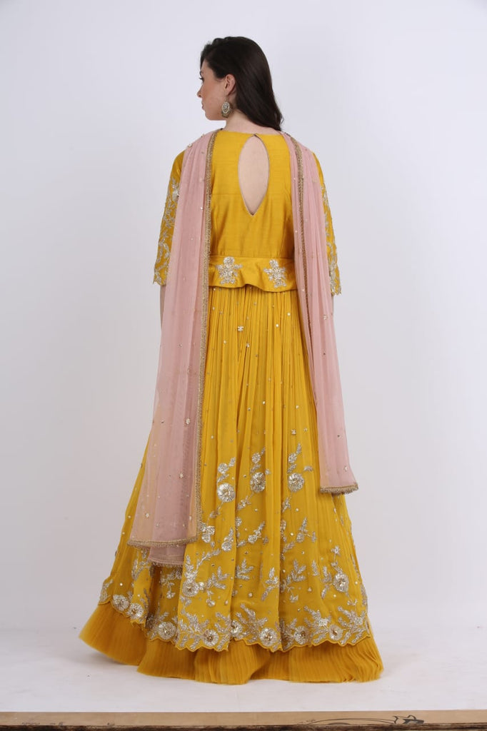Mustard Peplum Anarkali Set With Frills