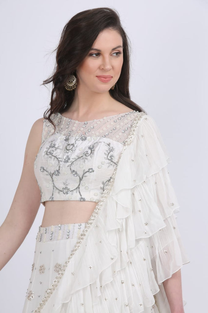 White Triple Layered Lehenga Choli with Frill Dupatta