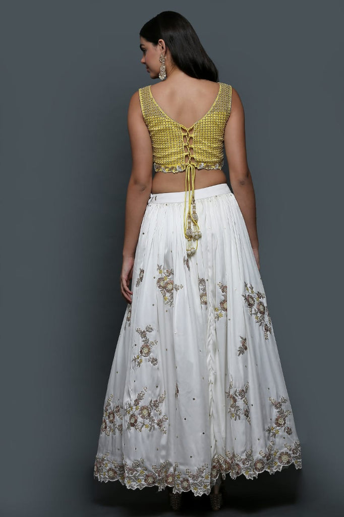 White Gota Lehenga With Yellow Embroidered Blouse